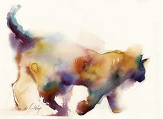 Colourful Cat Painting Cat in rainbow colors Original watercolor Painting Modern painting Art One of a Kind Watercolour Art Piece Scale: 14.8x11 (37.5x28cm) Medium: professional watercolor paints on Saunders Waterford rough watercolour paper 140 lb (300 gsm) Signed front and back Dated on