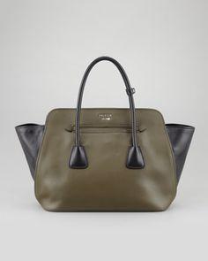 Bicolor Soft Calfskin Tote Bag, Green/Black by Prada at Neiman Marcus.