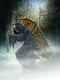 Face of darkness Grim Reaper Art, Grim Reaper Tattoo, Don't Fear The Reaper, Gothic Artwork, Skull Artwork, Arte Horror, Horror Art, Reaper Drawing, Street Art