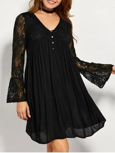 GET $50 NOW | Join RoseGal: Get YOUR $50 NOW!http://m.rosegal.com/lace-dresses/flare-sleeve-lace-insert-tunic-859619.html?seid=6110022rg859619