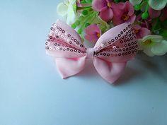 20pcs Big Grosgrain Ribbon Bows Flowers Appliques + Sequins (pink)