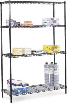 Create accessible additional storage space in your garage or office with this open commercial black wire shelving from Safco. Since each of the four adjustable shelves has a 500-pound capacity, the storage unit can store a range of items.