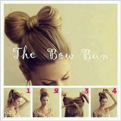 Art the bow bun hairstyles Cool Hairstyles For Girls, Bun Hairstyles, Pretty Hairstyles, Wedding Hairstyles, Fashion Hairstyles, Simple Hairstyles, Hairstyle Ideas, Hair Bow Bun, Hair Bows