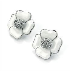 White Enamel Crystal Flower Earring