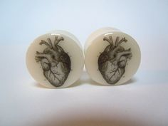 Happy Valentine's Day to ME!   Anatomical Heart on White Bone organic plugs 0g by TheGaugeQueen, $26.50