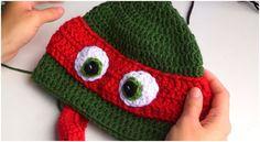 Crochet Ninja Turtle Hat ~ Know Make More Plans Over Innovative 46 Pictures Crochet Ninja Turtle Hat for Specific Crocheted Inspired Ninja Turtle Hat Crochet Creation by On Crochet Ninja Turtle Hat Crochet Eyes, Crochet Kids Hats, Crochet Beanie Hat, Crochet Cap, Crochet Crafts, Crochet Projects, Crochet Wolf, Knitting Projects, Free Crochet