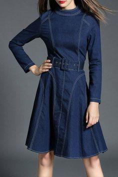 AdoreWe - Dezzal Long Sleeve Denim Dress - AdoreWe.com