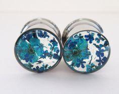 Blue Ear Plugs Real Flower Gauges Feminine Floral by HandmadeAt62
