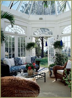This classic custom conservatory is used as an elegant tea room glass conservatory in Florida. The conservatory design included large arch-top glass windows Beautiful Space, Beautiful Homes, Conservatory Design, Conservatory Interiors, Victorian Conservatory, Conservatory Furniture, Sunroom Furniture, Gazebos, Interior And Exterior