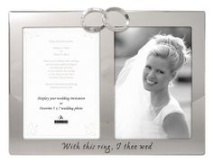 "Malden International Designs Wedding Rings ""With this Ring, I Thee Wed"" 2-Opening Picture Frame, 5 by 7-Inch, Silver -: Wedding gift"