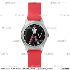 STYLIZED BLACK RED GOLFER,GOLF PLAYER MONOGRAM WRISTWATCH  #golf #golfplayer #golfer #sport #fashion #sports #golfers