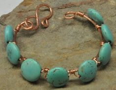 Copper Wire Wrapped Green Magnesite Bracelet$27.00 - Rustic Passion Jewelry & Crafts