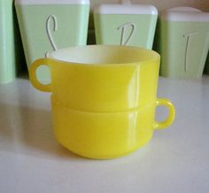 2 Vintage Glasbake Soup Mugs . Lemon Yellow . Cup Handle Stack Bowls  by kitschbitchvintage, $12.00