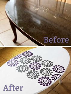 Stenciled Coffee Table Makeover - click thru for the full tutorial. #stencil1 #edroth #stenciling #crafts #diy #plaidcrafts #folkart