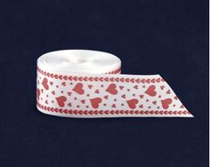 Satin Heart Awareness Ribbon By The Yard. This white satin ribbon is 1 1/4 inch wide. Packaged 10 yards of ribbon.  Product Code: RIB-HRT