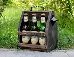 Wooden Beer Caddy, Wooden Beer Carrier, Beer Bottle Opener, Wood six pack beer carrier, Beer holder, Wooden Beer Tote, Independence Day