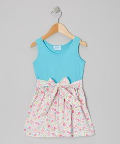 This Turquoise & Pink Floral Sash-Tie Dress - Infant, Toddler & Girls by Dreaming Kids is perfect! #zulilyfinds