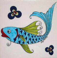 Pottery Painting, Ceramic Painting, Fish Drawings, Art Drawings, Turkish Art, Turkish Design, Painted Rocks, Hand Painted, Ceramic Fish