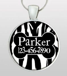 Pet ID Tag  Dog Tag  Dog ID Tag  Zebra Animal Print  by PoppysPets, $8.95