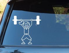 Crossfit Girl Weightlifting Stick Figure Vinyl Decal. Bumper Sticker. Crossfit Wod Gym