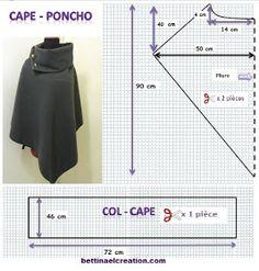 Made in france: DIY: Cape/ Poncho, tutoriel couture… Poncho Pattern Sewing, Cape Pattern, Pattern Drafting, Dress Sewing Patterns, Clothing Patterns, Sewing Hacks, Sewing Tutorials, Look Blazer, Fashion Sewing