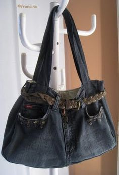 Online shopping from a great selection at Shoes & Handbags Store. Jean Diy, Jean Crafts, Recycle Jeans, Recycled Denim, Leather Fabric, Balenciaga City Bag, Denim Jeans, Shoulder Bag, Clothes