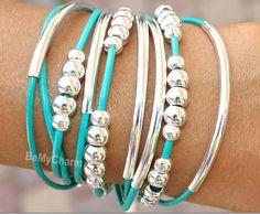 Leather Triple Wrap Boho Bangle Bracelet  Leather by BeMyCharm, $29.50