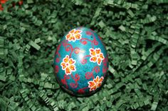 Red Flowers and Spirals on Blue Ukrainian Egg by StiglianoDesigns, $15.00