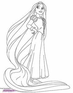 Coloriage disney princesses raiponce et ses longs cheveux - Dessin anime gratuit raiponce ...