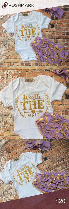 Boutique Baby Girl Worth The Wait 3pc outfit Precious white short sleeve onesie with Glitzy gold WORTH THE WAIT graphic design across the front. Lavender & gold dot Ruffle diaper cover & headwrap. Makes an adorable gift too! Matching Sets