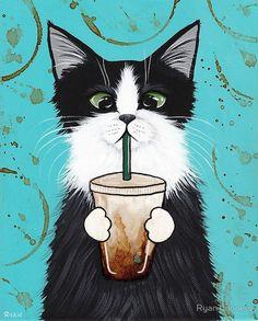 Iced Coffee Cat Folk Art Print avail 8x10/12x15/16x20 by 'KilkennycatArt' on Etsy♥༺❤༻♥