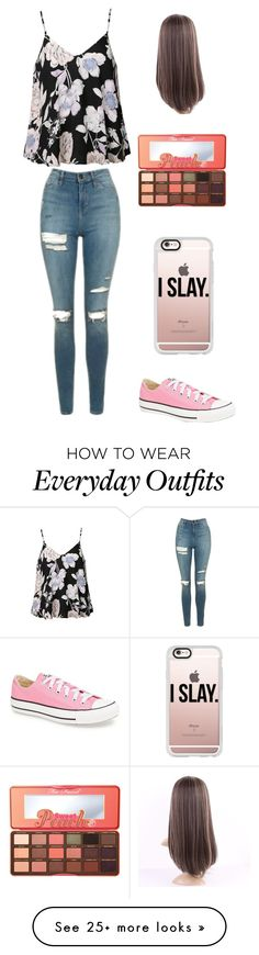 """Your everyday outfit"" by haleenewton on Polyvore featuring Topshop, Ally Fashion, Converse, Casetify and Too Faced Cosmetics"