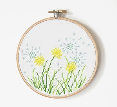Dandelion Cross Stitch Pattern - Flower Cross stitch - Dandelion Embroidery.  This is a digital Cross stitch pattern that you can instantly download from Etsy after purchase. Patterns include a full color chart with color symbols, a thread legend.  PATTERN SPECIFICATIONS: Grid size : 108 x 96 stitches Design Area: 7.7 inches x 6.86 inches (19,59см x 17,42 см) on 14-count Aida.  Digital PDF format , not a finished product.  Cross Stitch patterns are for personal use only. The patterns may…