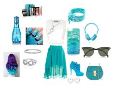 """""""tudo azul"""" by mariamduda2003 ❤ liked on Polyvore featuring BCBGMAXAZRIA, Staring At Stars, Brian Atwood, Chloé, Ray-Ban, Kate Spade, Blue Nile, Marc by Marc Jacobs, MaBelle and Davidoff"""