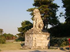 Amphipolis Lion, Serres Capital City, Statue Of Liberty, Fountain, Greece, Lion, Outdoor Decor, Nature, Travel, Gnomes