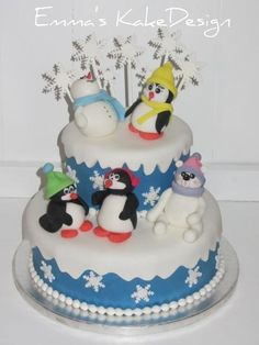 Emmas KakeDesign: Head to the blog for a DIY step-by-step tutorial on how to make this cute winter Christening cake with penguins. Instagram @emmaskakedesign