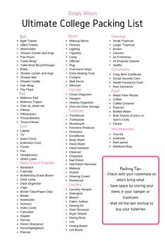 The Ultimate College Packing List – Simply Allison Want to know what to bring to college? This is my ultimate college packing list so you don't forget anything . Plus, I even created a free printable dorm room checklist for you. College Dorm List, College Dorm Checklist, College Dorm Essentials, College Dorm Rooms, Uni Checklist, College Board, Dorm Room List, Uni Room, College Hacks