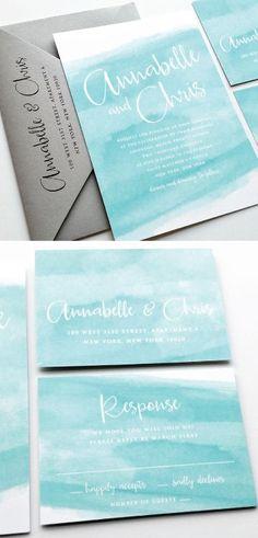 NEW Annabelle Modern Calligraphy Aqua Watercolor Beach Wedding Invitation