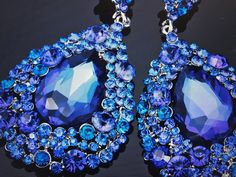 Excited to share this item from my shop: Royal Blue Austrian Crystal Chandelier Earrings pierced Post Sparkly Chunky Style National American Miss, Pageant Earrings, Prom Flowers, Ring Watch, Blue Earrings, Queen Bees, Austrian Crystal, Ornament Wreath, Chandelier Earrings