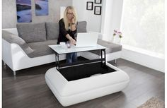 Table basse relevable blanche Leone