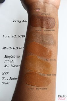 fenty 470 foundation swatch on dark skin, compared to cover fx n110 make up for ever hd 178 maybelline fit me 360 mocha nyx stay matte cocoa