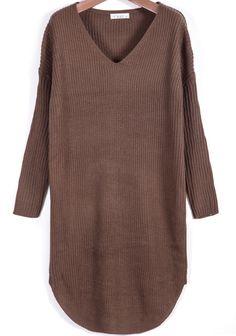 Khaki V Neck Long Sleeve Loose Sweater 19.33