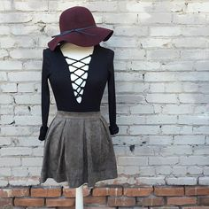 Lace-Up Long Sleeve Bodysuit/Faux Suede Flare Skirt in moss make an adorable pair! #shoppitaya