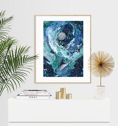 Items similar to Moonlit Abstract Expressionist Luxury Acrylic Painting Print - or on Etsy A5, Painting Prints, Moonlight, I Shop, Tapestry, Abstract, Luxury, Unique Jewelry, Handmade Gifts