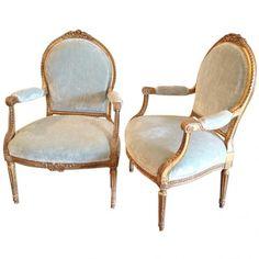 Pair of French Antique Louis XVI Fauteuils : On Antique Row - West Palm Beach…