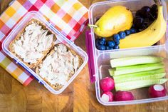 Sporty Girl's lunch box consists of smoked mackerel, cucumbers, radishes, a few cherries, pear, banana and some blueberries