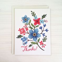 Beautiful summer thank you card! Perfect for saying thanks to hostess at the lake or picnic. Nantucket Thanks Greeting Card  Illustrated by LetterWood on Etsy
