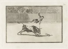 Francisco Goya, Spanish, 1746–1828, Ligereza y atrevimiento de Juanito Apiñani en la de Madrid (The Agility and Audacity of Juanito Apinani in [the Ring] at Madrid), from the series La tauromaquia, 1816. Etching and aquatint, plate: 24.5 x 35.5 cm (9 5/8 x 14 in.); sheet: 31.4 x 44.1 cm (12 3/8 x 17 3/8 in.). The Arthur Ross Collection. 2012.159.38.20. Photo credit: Yale University Art Gallery.