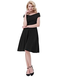 Kate Kasin Women's 50s Vintage Cocktail Dress for Party Off Shouder at Amazon Women's Clothing store: