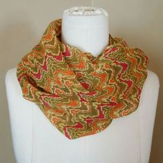 "Lightweight scarf 18"" x 72"" Chartreuse background with orange and pink chevron like pattern. Apt. 9 Accessories Scarves & Wraps"